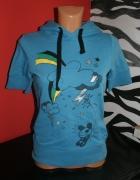 Bluza z krótkim rękawem niebieska z kapturem TROLL...