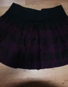 Spódnica Clockhouse w kratę kratkę fioletowa czarn...