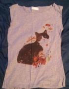 Szara bluzka z kotem Troll XS...