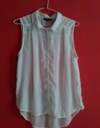 Biała kremowa koszula mgiełka H&M S długa tunika