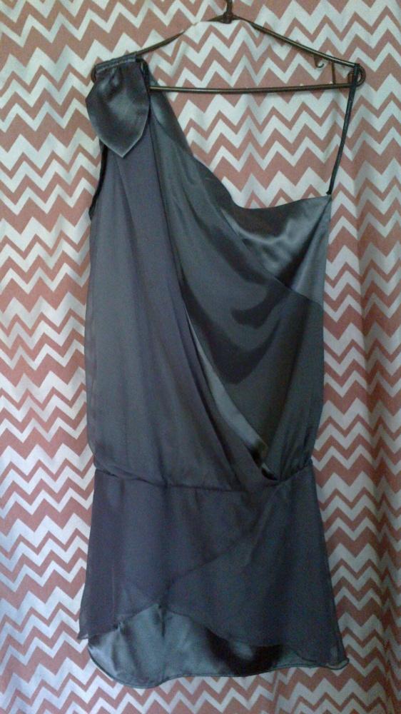 Dorothy Perkins szara stalowa sukienka koktajlowa...
