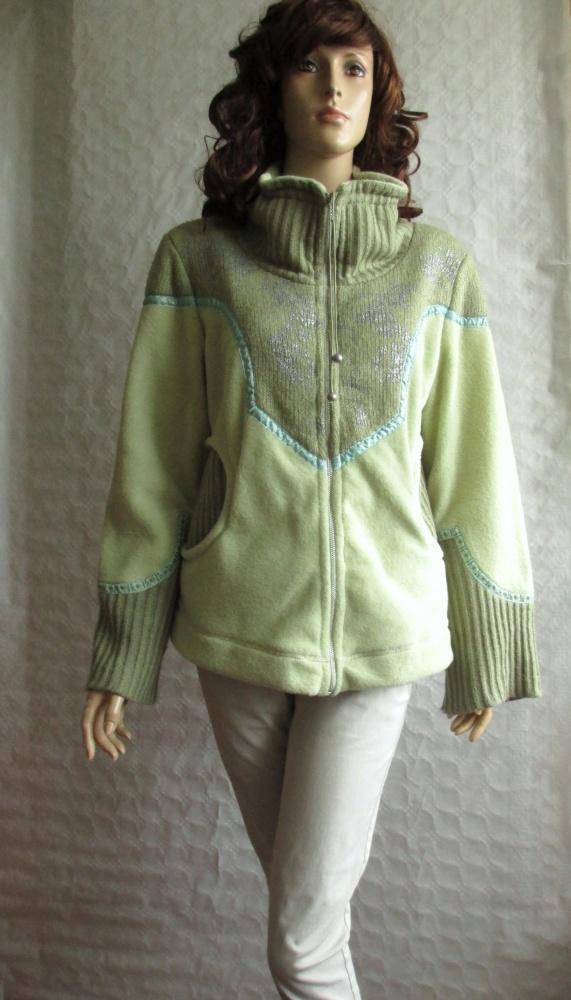 CULTURE ciepła bluza zielona polar łączone mat 40
