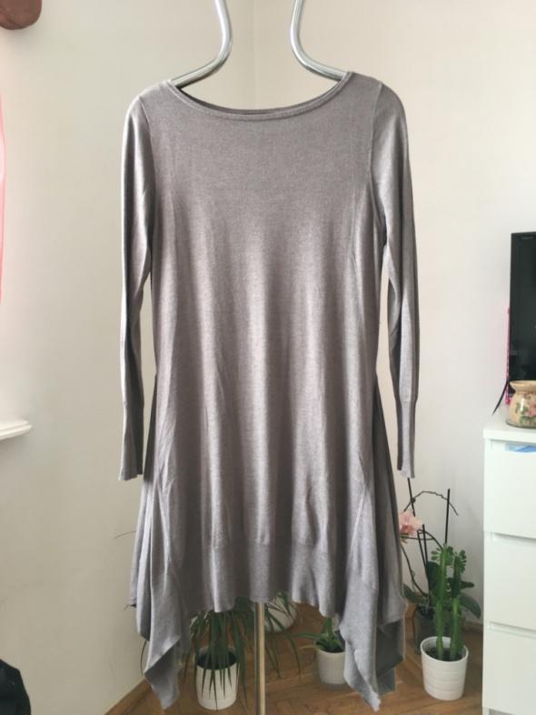 Bezowy sweter tunika Marks&Spencer with silk & cas...