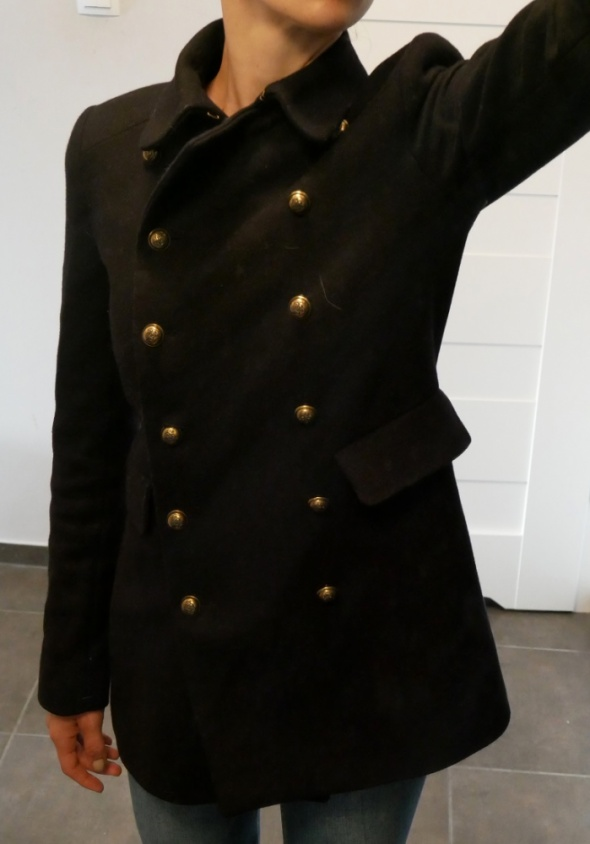 ZARA czarny dwurzędowy płaszcz