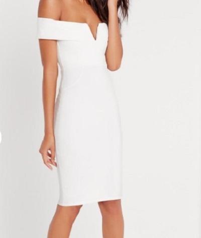 Biała sukienka bardot missguided XS