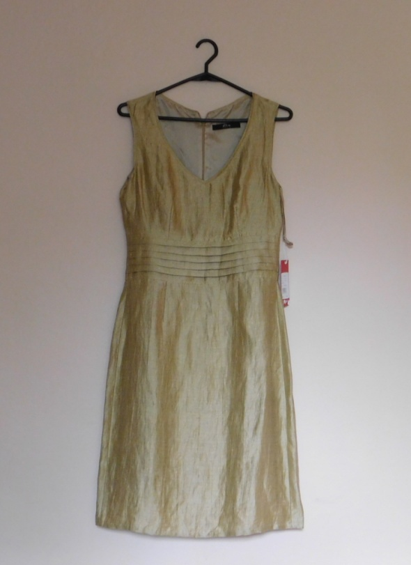 S Oliver złota sukienka 34 36 NOWA...