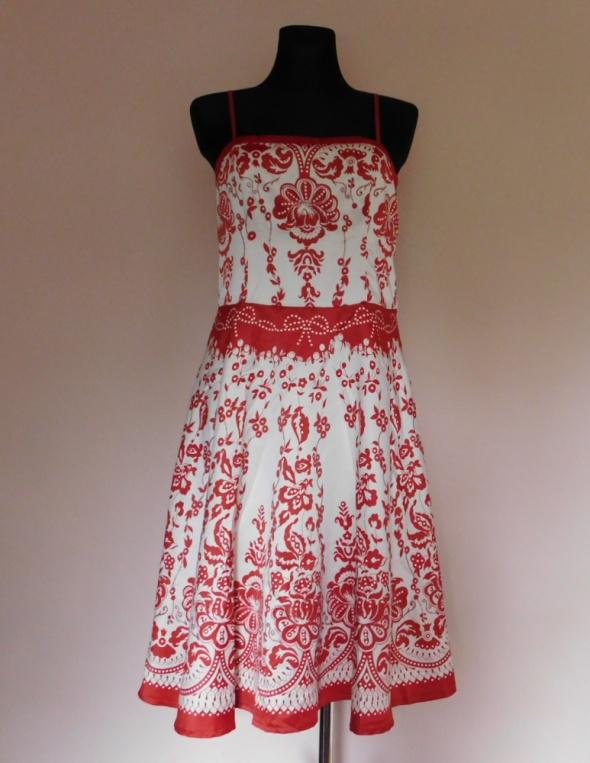 Vila sukienka biała czerwona midi 40...