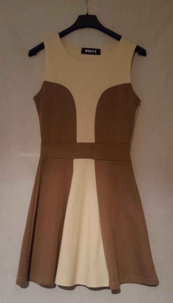 Kremowo brązowa sukienka damska na ramiączkach