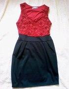 sukienka koronka czarna czerwona s m xs studniówka