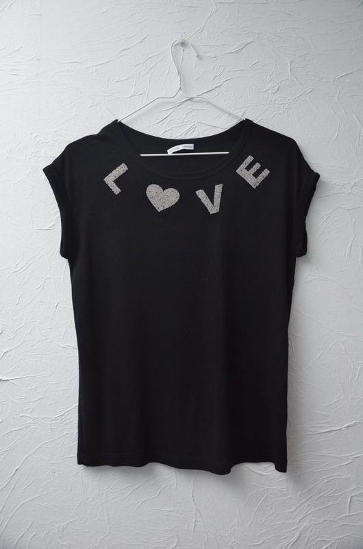 ZARA czarna bluzka koszulka tshirt perełki dżety zdobiona love napis S