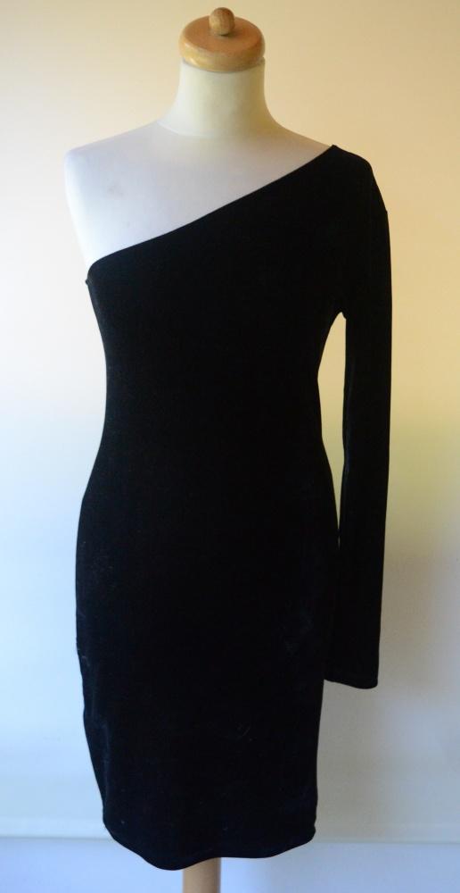 Suknie i sukienki Sukienka Jedno Ramię Welur Czarna Sexy Bik Bok M 38