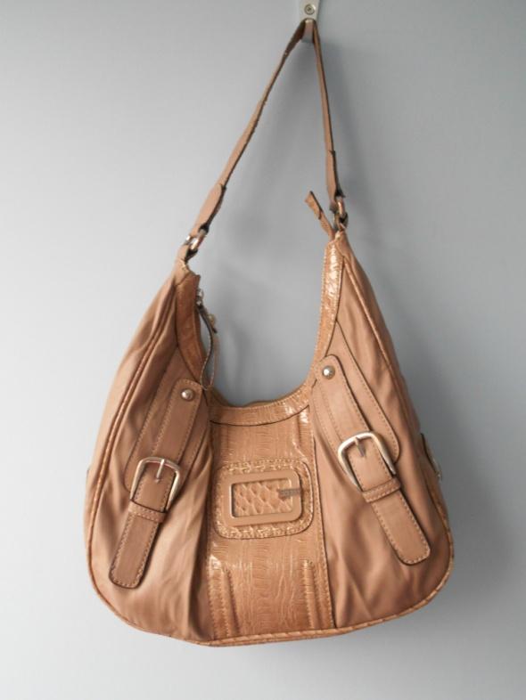 Guess pudrowa beżowa torebka worek torba logo...