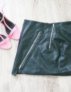 mini spódniczka z zipami skórzana pull and bear...