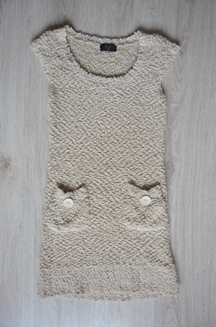 Ax Paris sukienka baranek tunika beżowa kremowa ecru 38 M 40 L...