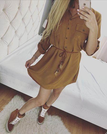 Koszulowa sukienka musztardowa jesieś włoska 36 S M