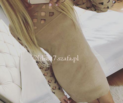 Sukienka ażurowa wycięcia ala zamszowa nude beżowa 36 S