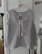 H&M bluzka marynarka w paski wiązanie zara