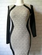 Sukienka elegancka wzór długi rękaw...