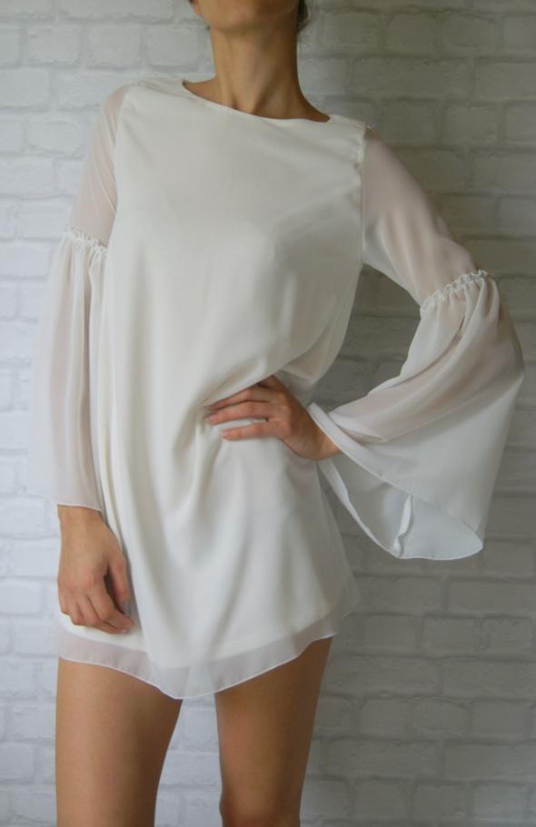 Piękna biała szyfonowa zwiewna sukienka