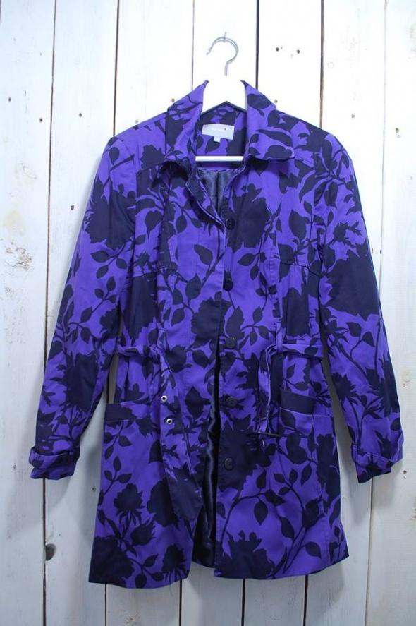 płaszcz fioletowo czarny floral kwiaty Marks Spencer L