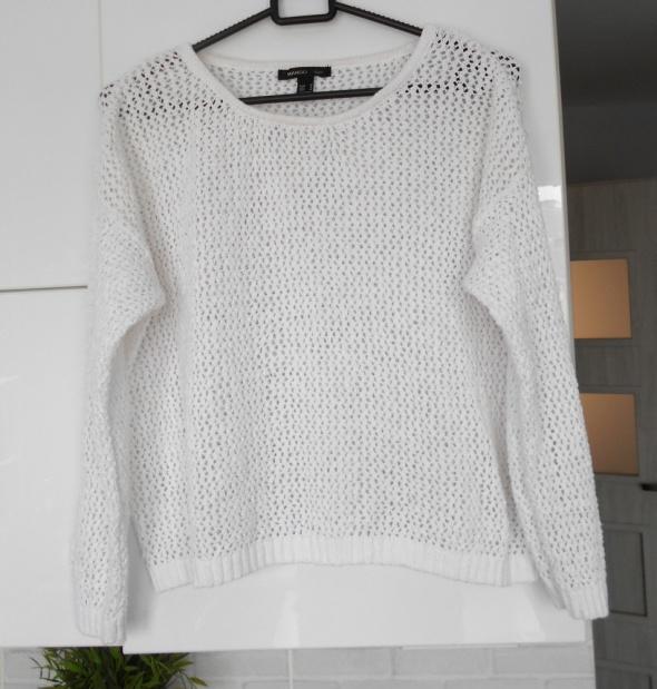 Mango biały sweter ażurowy minimalizm...