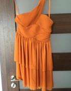 H&M garden pomarańczowa asymetryczna sukienka na okazję...