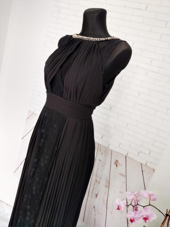 NOWA suknia maxi plisowana koronka odkryte plecy dekolt S TFNC London