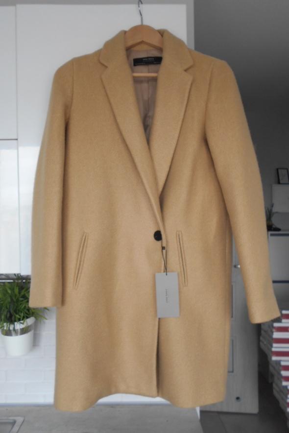 Zara nowy płaszcz camel beżowy jednorzędowy dyplomatka nude