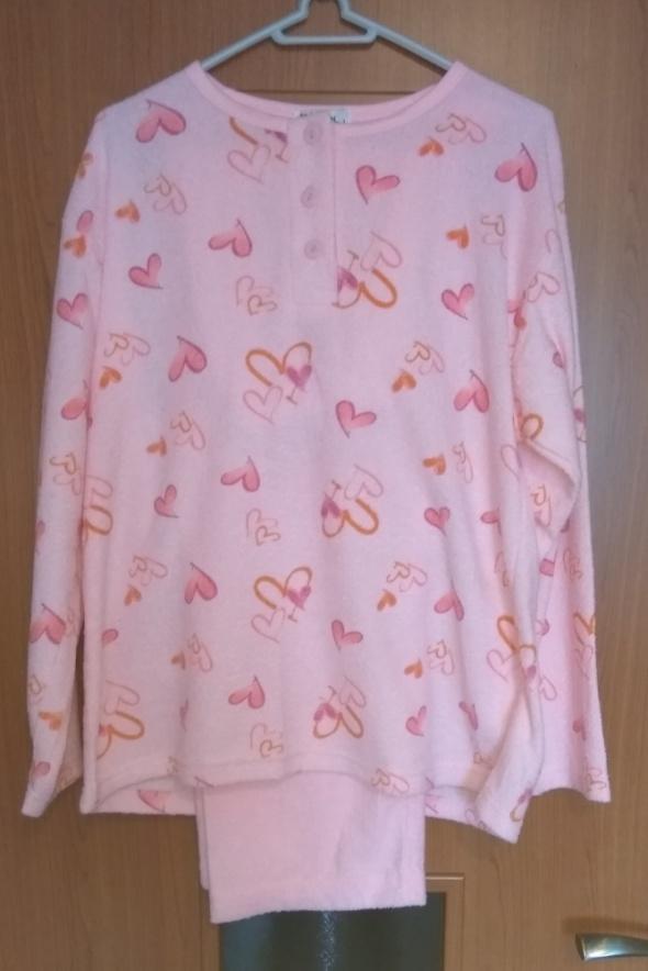 Nowa różowa frottowa piżama damska długi rękaw ser