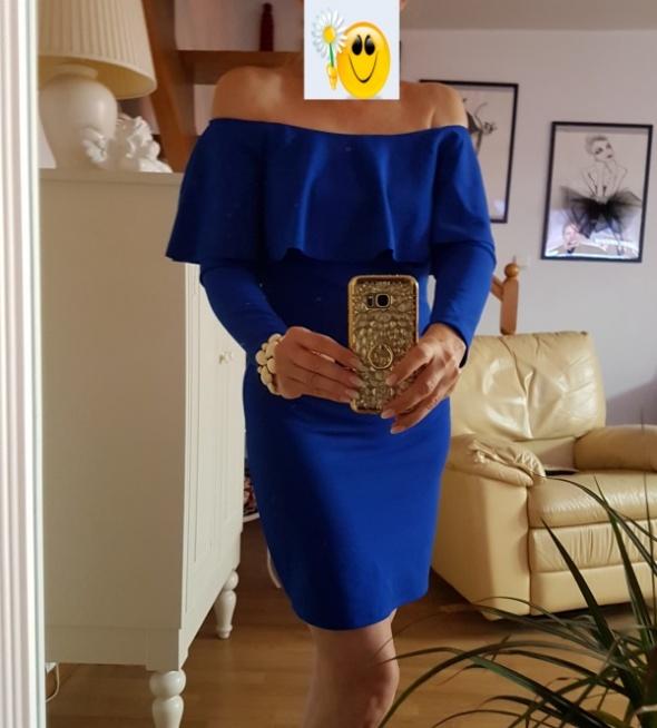 Kobaltowa sukienka hiszpanka M L
