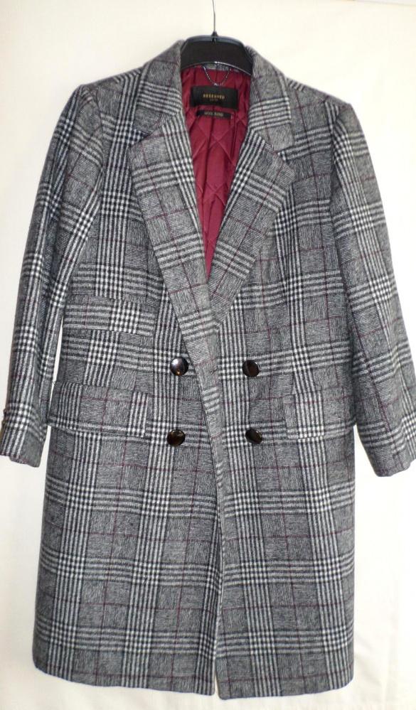 Płaszcz w kratę Reserved wełniany Nowy rozmiar XS
