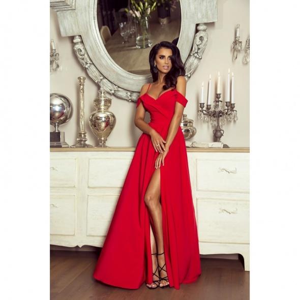 Długa czerwona suknia maxi z odkrytymi ramionami 34 XS