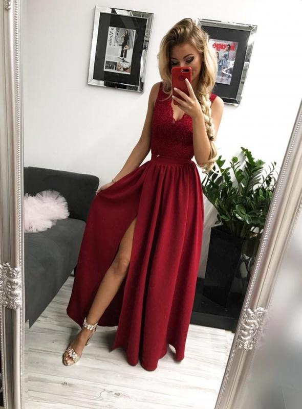 Bordowa maxi sukienka glamour l