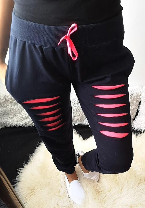 Spodnie damskie dresowe neonowe M L