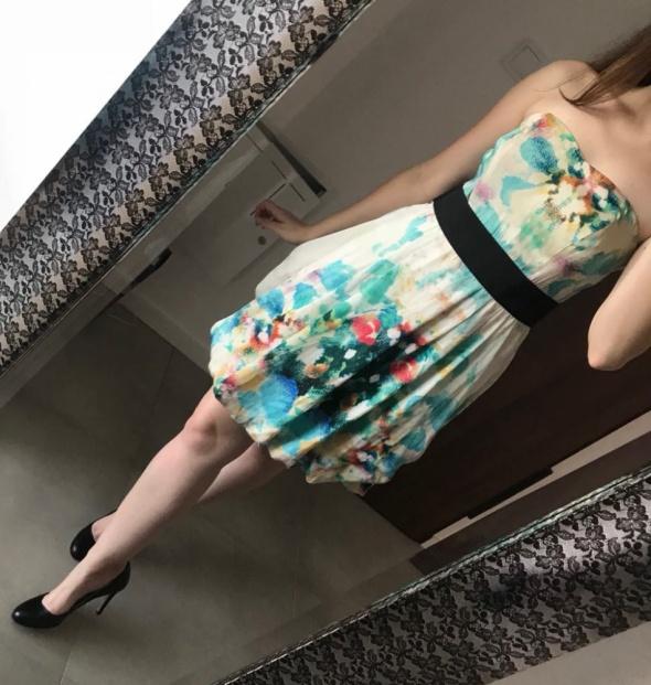 Sukienka bombka floral biała kolorowa M L h&m...