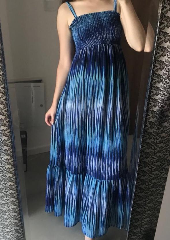Piękna zjawiskowa sukienka maxi niebieska wzór print oversize S...