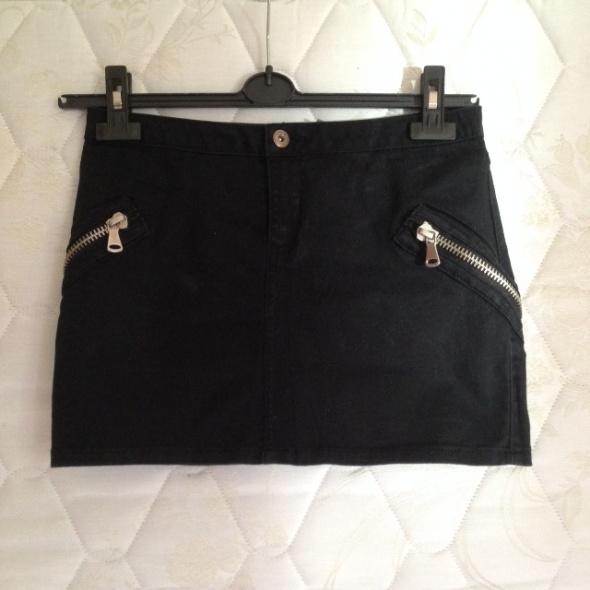 Spódnice Czarna mini jeansowa zamki jak nowa Vila 38