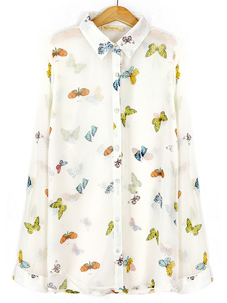 Koszula mgiełka w motylki