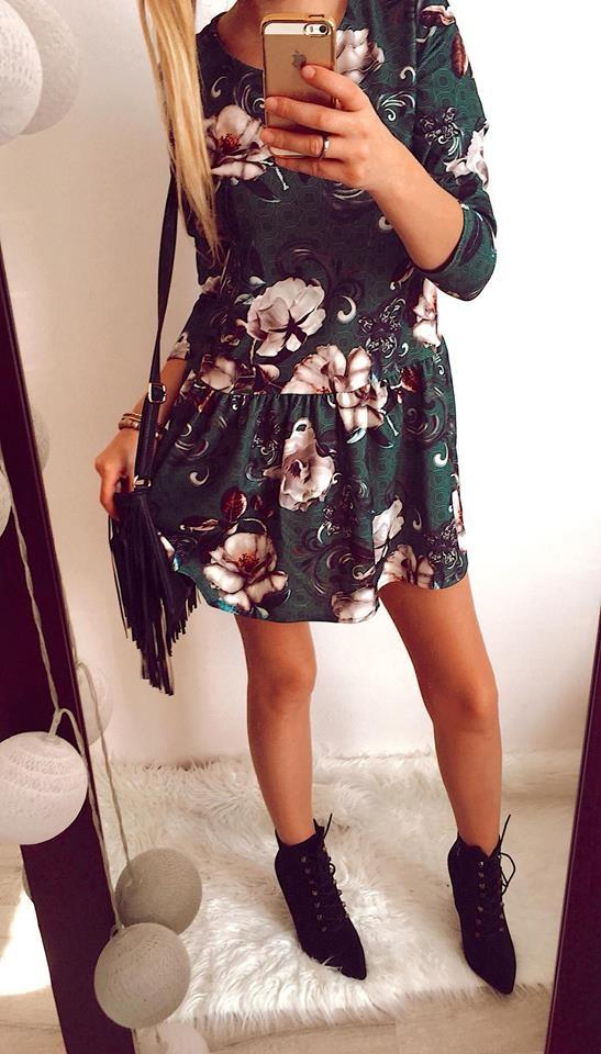Sukienka Damska w kwiaty zielona M