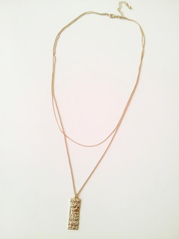 Złoty łańcuszek celebrytka podwójny z przywieszką