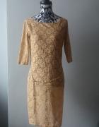 Idealna jasna koronkowa sukienka z paskiem...