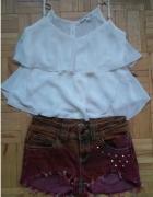 biała bluzeczka z falbanką Tally Weijl...