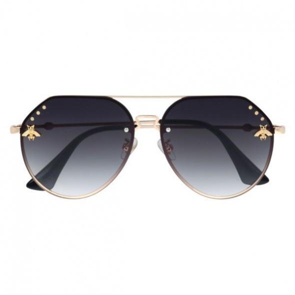 Okulary przeciwsłoneczne GUCCI czarne złote pszczoła pilotki