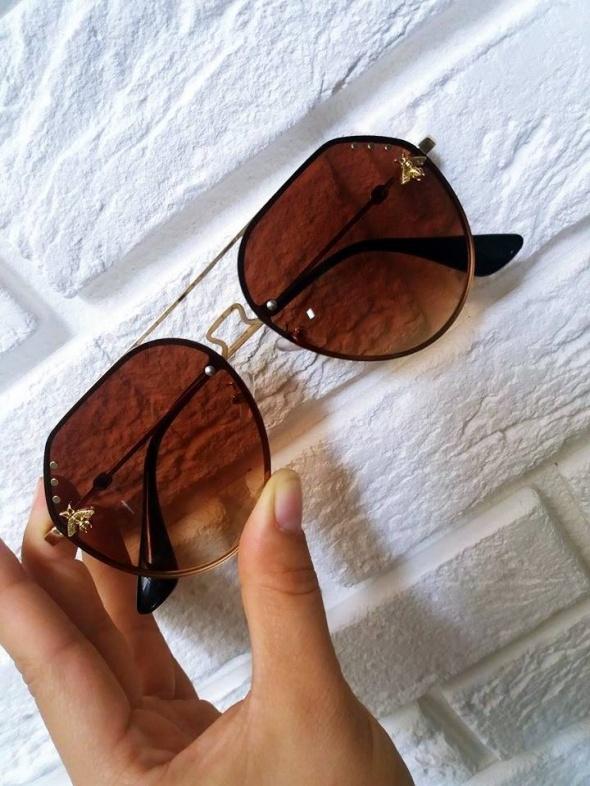 Okulary przeciwsłoneczne GUCCI brązowe złote pszczoła pilotki
