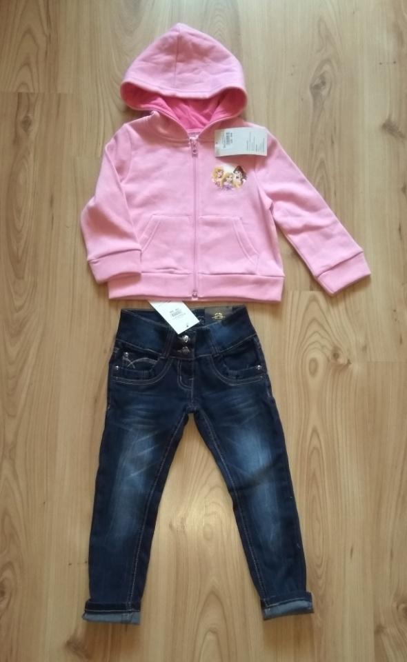 Bluza Princes Disney i jeansy dziewczęce 110