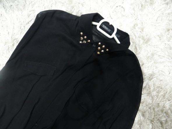 czarna koszula klasyczna z kołnierzykiem ze ćwiekami stan ideal...
