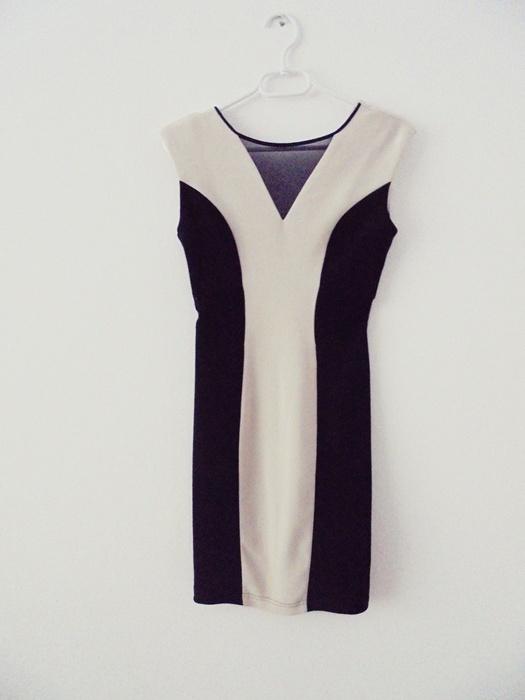 sukienka czarno beżowa S