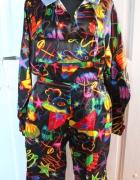 Czarny kostium klauna w kolorowe wzory strój przebranie r około...