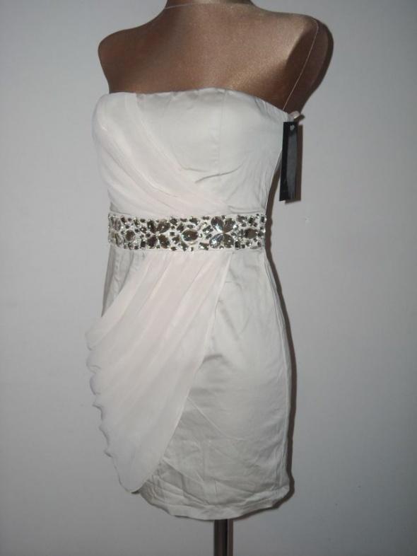 beżowa sukienka ax paris s m szyfon...