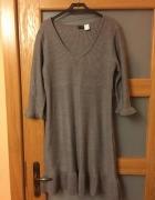 szara dzianinowa sukienka...